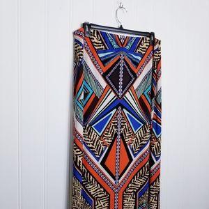 Chico's Bold Animal Print Tribal Maxi Skirt Size 3